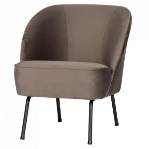 Scaun lounge maro din catifea si otel Vogue Nougat Be Pure Home