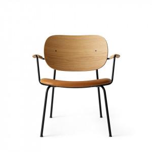 Scaun lounge maro/negru din piele si lemn Co Natural Menu