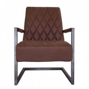 Scaun lounge maro/negru din poliester si fier Aica Vical Home