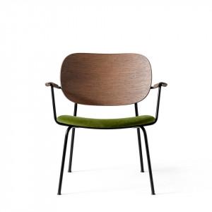 Scaun lounge maro/verde din lemn si catifea Co Velvet Arms Menu