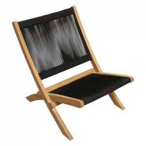 Scaun lounge negru/maro din lemn si sfoara pentru exterior Ropa Raw Materials