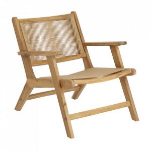 Scaun lounge pliabil maro din polietilena si lemn de salcam Geralda Kave Home