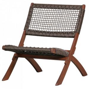 Scaun lounge pliabil maro inchis din lemn de eucalipt si polietilena Lois Woood