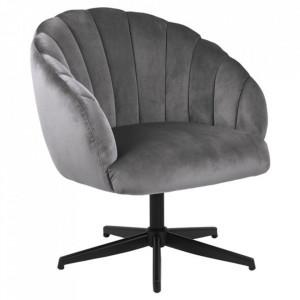 Scaun lounge rotativ negru/gri din textil si metal Daniella Actona Company