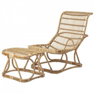 Scaun lounge si taburet pentru picioare maro din ratan Eloise Bloomingville