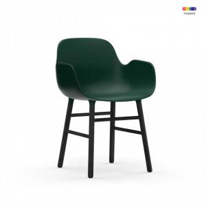 Scaun lounge verde/negru din polipropilena si lemn Form Normann Copenhagen