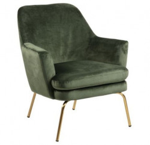 Scaun lounge verde padure/maro alama din textil si metal Chisa Forest Green Brass Actona Company