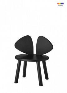 Scaun negru din lemn de stejar pentru copii Mouse Chair Nofred