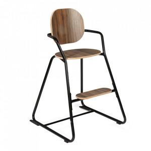 Scaun pentru copii maro/negru din lemn de nuc si metal Tibu Charlie Crane