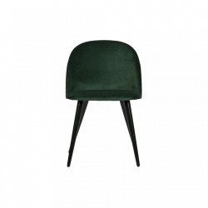 Scaun verde din catifea Fay Dark Green Woood