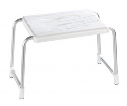 Scaunel alb/gri din plastic si aluminiu Secura Bath Stool Rectangle Wenko