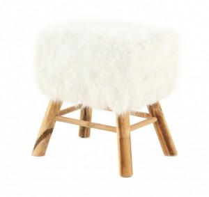 Scaunel dreptunghiular alb/maro din blana si lemn 28x37 cm Lasco Zago