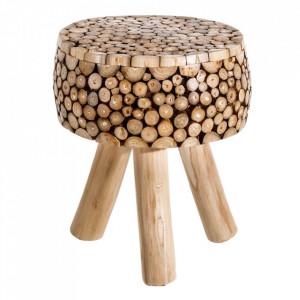 Scaunel maro din lemn de tec Florence Ixia