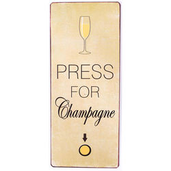 Semn metalic galben 30,5x13 cm Press for champagne