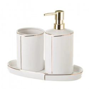 Set 2 accesorii baie si suport din ceramica Hellen White Unimasa