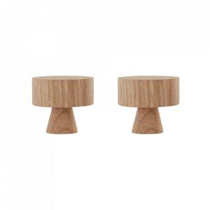 Set 2 cuiere maro din lemn de stejar Pin Large Oyoy