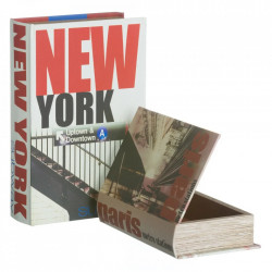 Set 2 cutii tip carte multicolore din MDF si canvas New York Ixia