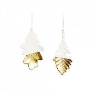 Set 2 decoratiuni suspendabile albe/aurii din ceramica si alama Leaf Hubsch