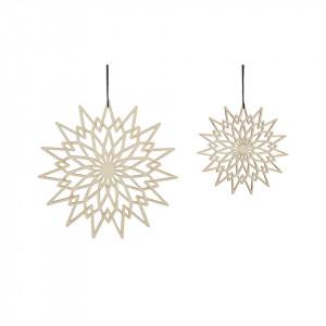 Set 2 decoratiuni suspendabile maro din lemn Star Hubsch