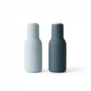 Set 2 rasnite albastre din ceramica si lemn pentru sare si piper Yevo Menu