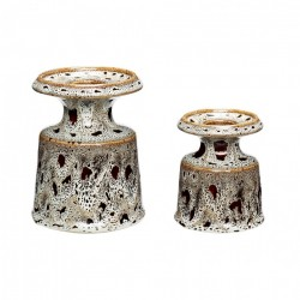 Set 2 suporturi lumanare maro/alb din ceramica Edward Hubsch