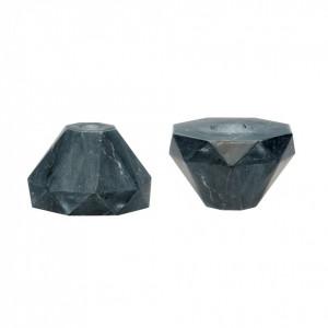 Set 2 suporturi lumanare negre din marmura Judy Hubsch