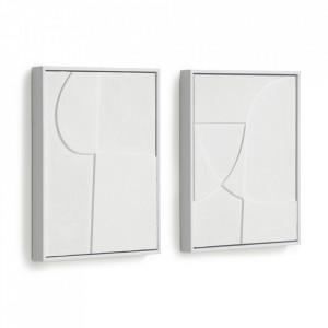 Set 2 tablouri albe din canvas si lemn de pin 32x42 cm Beija Kave Home