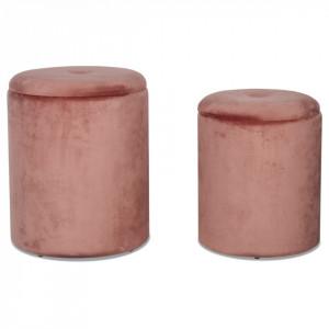 Set 2 tabureti roz din catifea si lemn Neo Opjet Paris