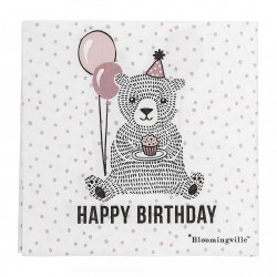 "Set 20 servetele albe 33x33 cm ""Happy Birthday"" Bloomingville"