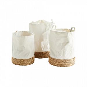 Set 3 cosuri albe/crem din bumbac si paie pentru rufe Dary Madam Stoltz
