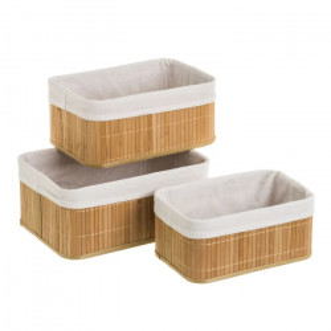Set 3 cosuri maro din lemn de bambus Clark Unimasa