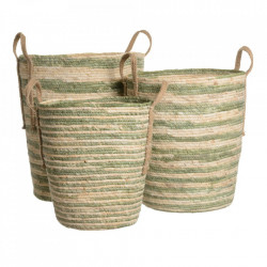 Set 3 cosuri maro/verde din stuf si frunze de porumb Harare Ixia