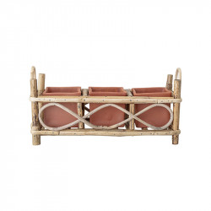 Set 3 ghivece rosii din teracota si trestie cu suport 19 cm Livie Bloomingville