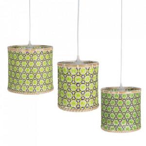 Set 3 lustre multicolore din bambus Olizy Ixia