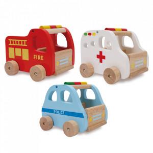 Set 3 masini de jucarie multicolore din lemn si MDF Rescue Cars Small Foot
