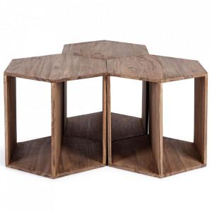 Set 3 masute de cafea maro din lemn de sheesham 45x53 cm Kant Bizzotto