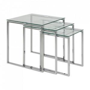 Set 3 masute transparente/argintii din sticla si metal Katrine Actona Company