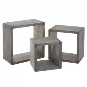 Set 3 rafturi gri din lemn Shelving Modular Big Grey Unimasa
