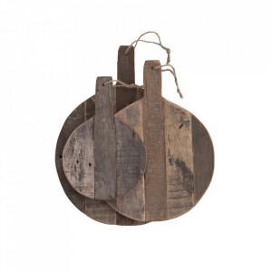 Set 3 tocatoare rotunde maro din lemn Nature Madam Stoltz
