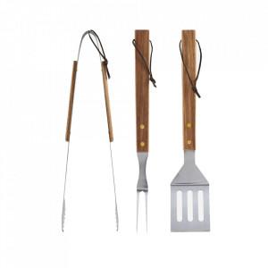 Set 3 ustensile pentru gratar din inox si lemn de salcam BBQ Nicolas Vahe