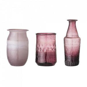 Set 3 vaze mov din sticla Amadea Bloomingville