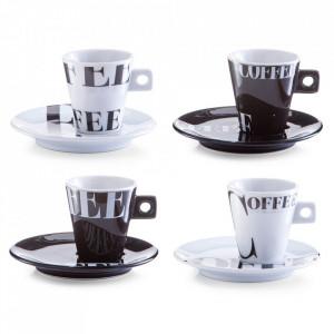 Set 4 cesti cu farfurioare albe/negre din portelan Coffee Style Zeller