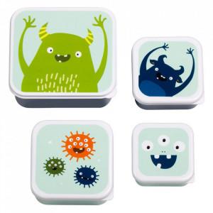 Set 4 cutii pentru pranz multicolore din polietilena Monsters A Little Lovely Company