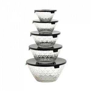 Set 5 boluri transparente/negre din sticla 17 cm Kerry Nordal