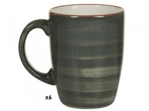 Set 6 cani gri din ceramica 250 ml Tuscany Gray Santiago Pons