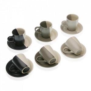 Set 6 cesti cu farfurioare multicolore din ceramica 6x6 cm Elene Versa Home