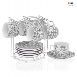 Set 6 cesti cu farfurioare si suport din portelan si metal Coffee Grey Versa Home