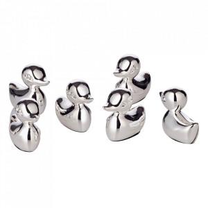 Set 6 suporturi pentru carduri argintii din inox Duck Edzard