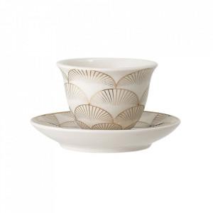 Set ceasca si farfurioara aurii din ceramica Aruba Bloomingville