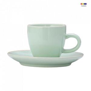 Set ceasca si farfurioara verde din ceramica Olivia Bloomingville
